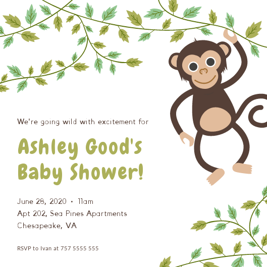 Hanging Monkey Baby shower invitations Personalized for any event with your details
