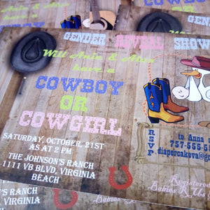 Baby gender reveal party invitations. Cowboys, country, western style