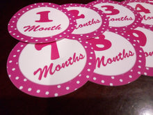 Month simple pink baby stickers