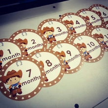 Monthly baby stickers. Cowboys / cowgirls bodysuit romper baby infants month labels