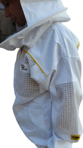 OZ ARMOUR Poly Cotton Semi Ventilated Beekeeping Jacket With Round Hat Veil