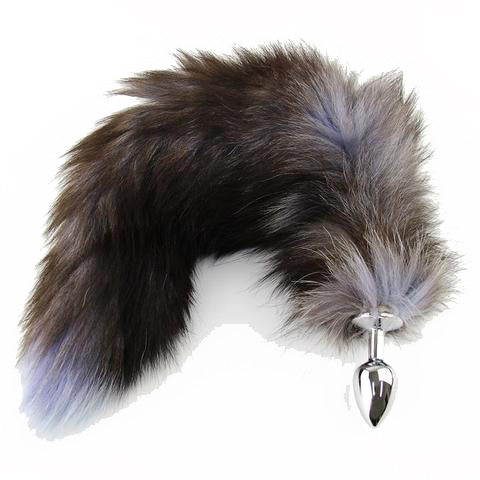 "18"" TAIL BLACK WOLF STAINLESS STEEL PLUG"