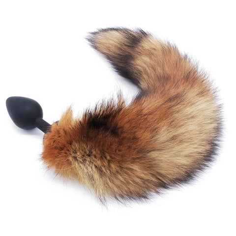"14"" - 16"" BROWN FOX TAIL TPE PLUG Black chefjeffcooked"