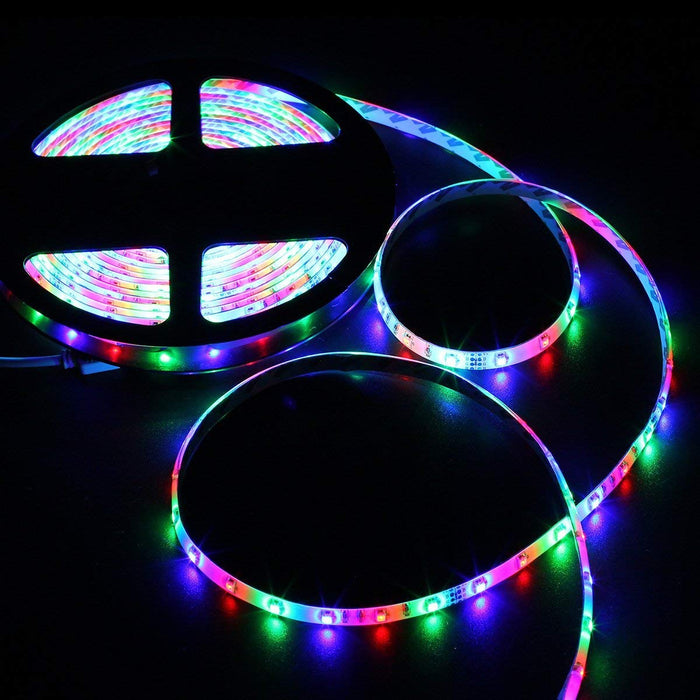 SUPERNIGHT 16.4FT 300leds Multi Color SMD 3528 RGB LED Light Strip, Waterproof Rope Lighting 12V Power Adapter Remote Controller Bedroom Home Party Wedding TV Backlight