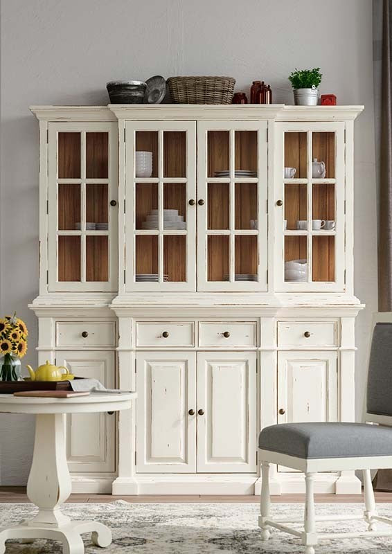 Farmhouse Buffet with Hutch White Distressed