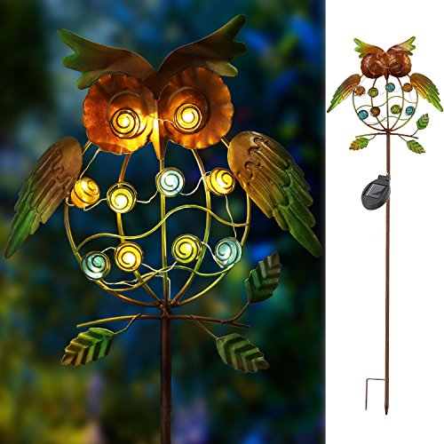 Solar Powered Stake Lights Metal OWL LED Decorative Garden Lights - AsitiGift