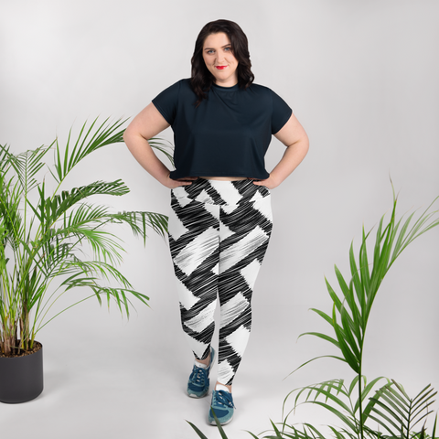 Black and white plus SIZE - All-Over Print Plus Size Leggings