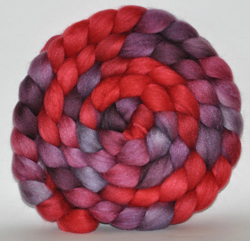 21.1 Micron Hogget  Haunui NZ Halfbred/Mulberry Silk  Roving Hand Dyed  5.19 ounces - Last Dance Combed Top