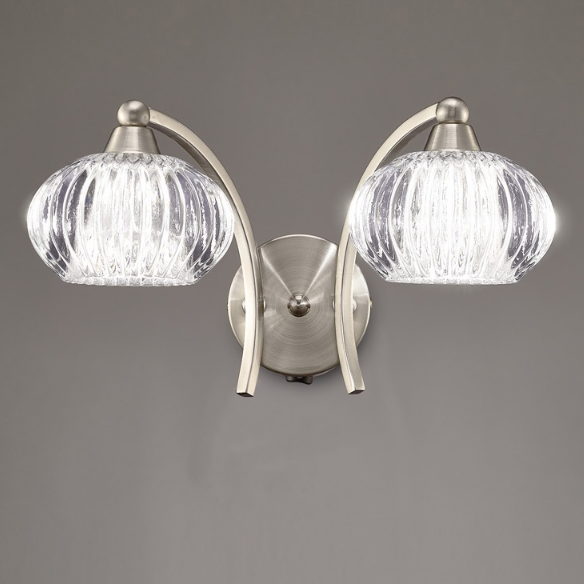 2 Light Wall Bracket In Satin Nickel With Ribbed Glass Shade - ID 6353