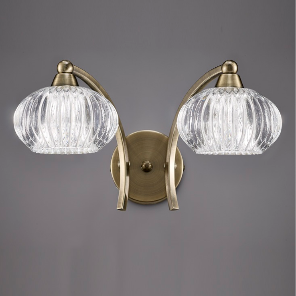 2 Light Wall Bracket In Antique Brass With Ribbed Glass Shade - ID 6352