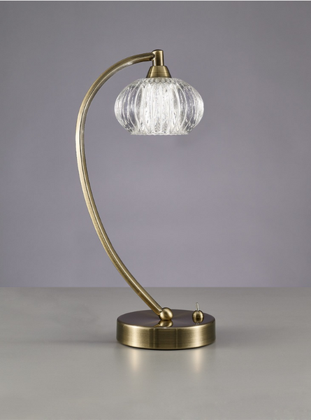 1 Light Table Lamp In Antique Brass With Ribbed Glass Shade - ID 6357