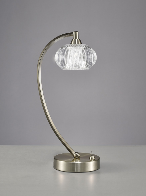 1 Light Table Lamp In Satin Nickel With Ribbed Glass Shade - ID 6356