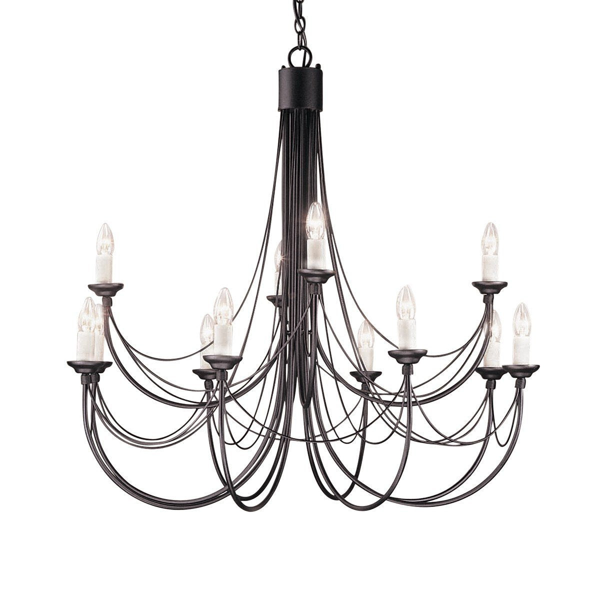 Carisbrooke 12 Arm Chandelier Black - London Lighting - 1