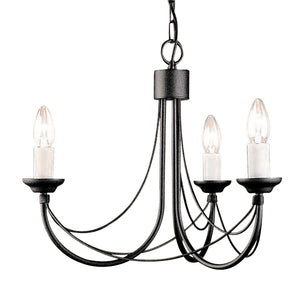 Carisbrooke 3 Arm Chandelier Black - London Lighting - 1