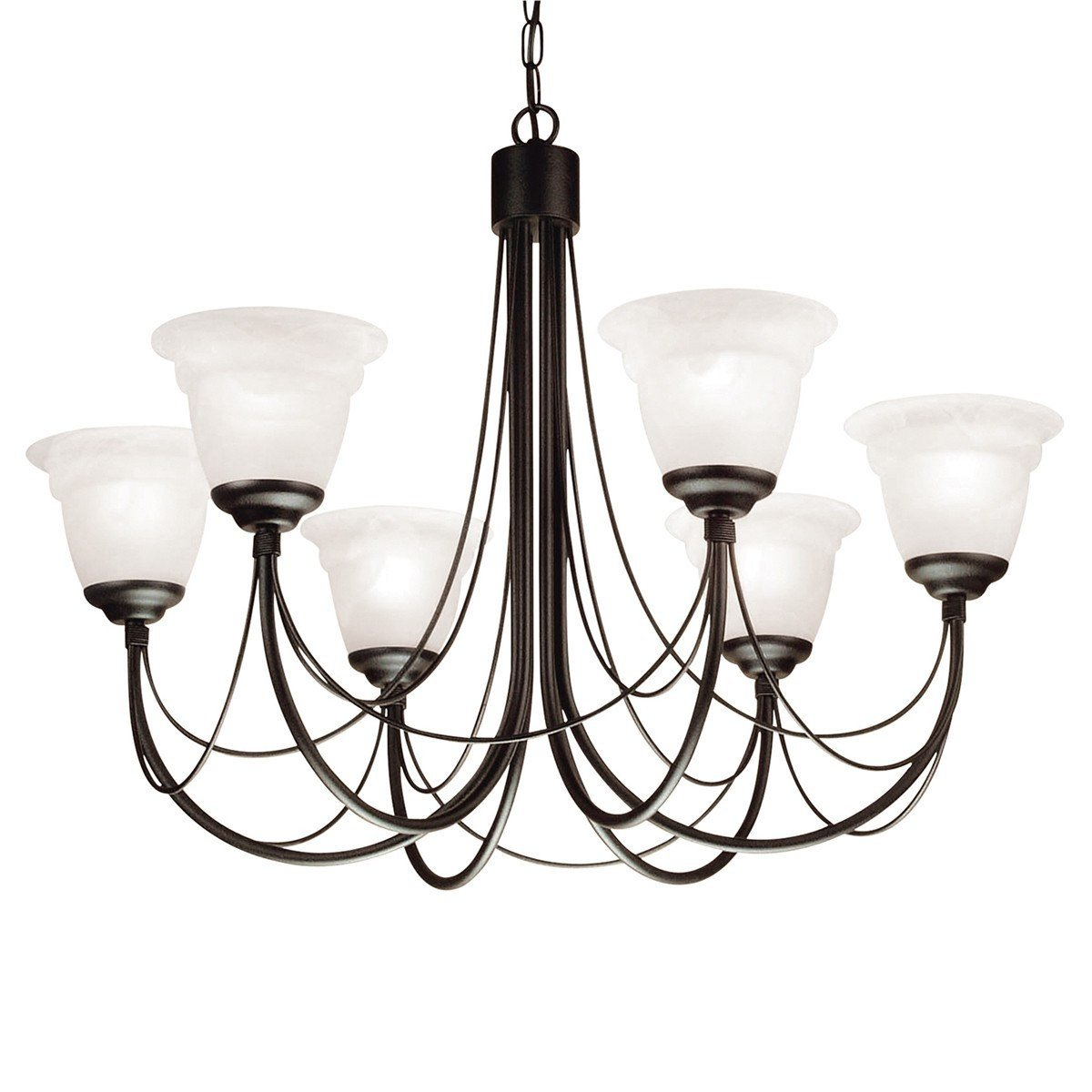 Carisbrooke 6 Arm Chandelier Black - London Lighting - 1