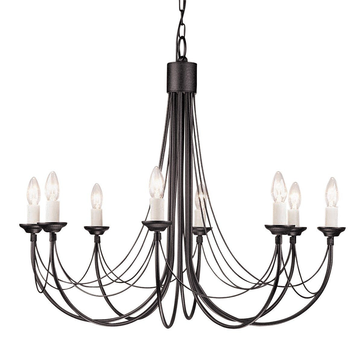 Carisbrooke 8 Arm Chandelier Black - London Lighting - 1