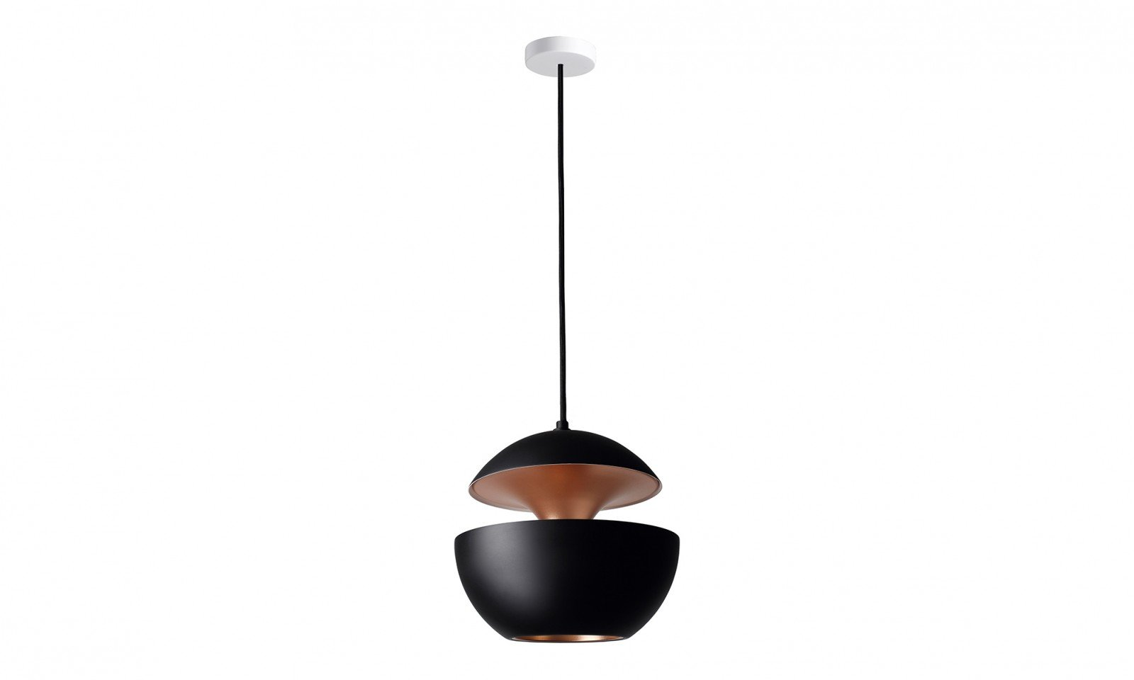 25cm Aluminium Globe Pendant In Black & Copper - ID 7996