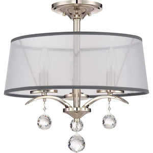 Whitney Three Light Imperial Silver Semi Flush/Pendant