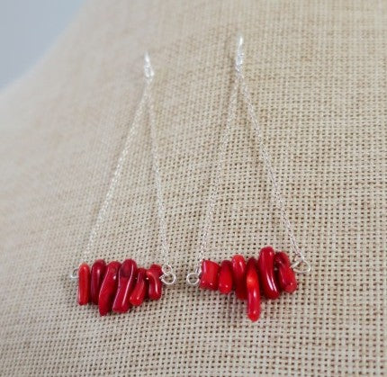Red Coral Earrings on Sterling Silver