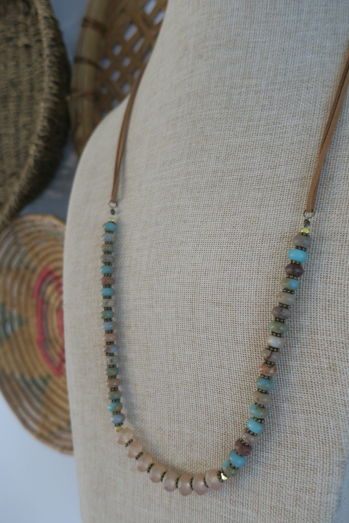 Aqua Terra Jasper & Vegan Leather Necklace