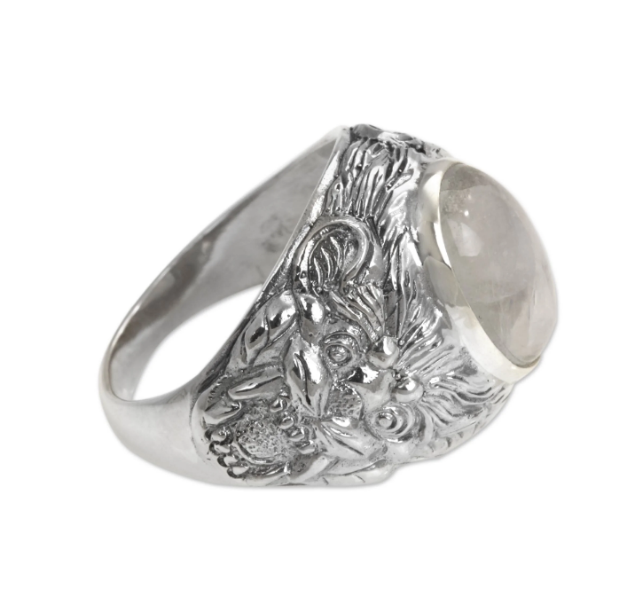 NOVICA Handmade 'Lion Charisma' Cabochon Rainbow Moonstone Highly Polished 925 Sterling Silver Ring