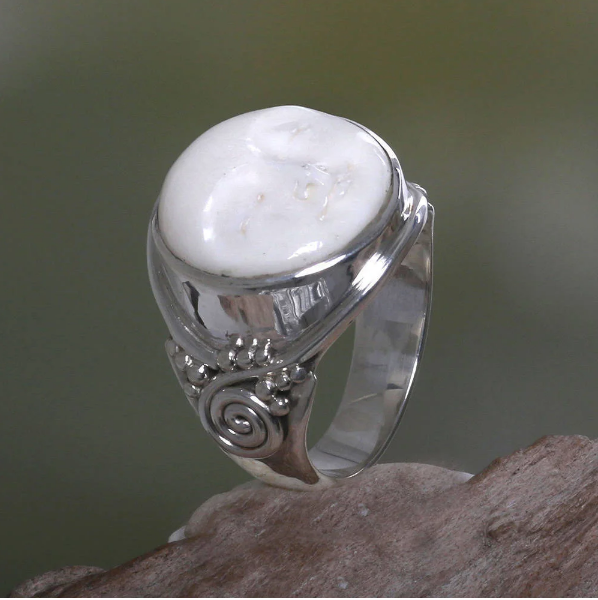 NOVICA Handcrafted Cow Bone 'Face of the Moon' .925 Sterling Silver Captivating Design Cocktail Ring