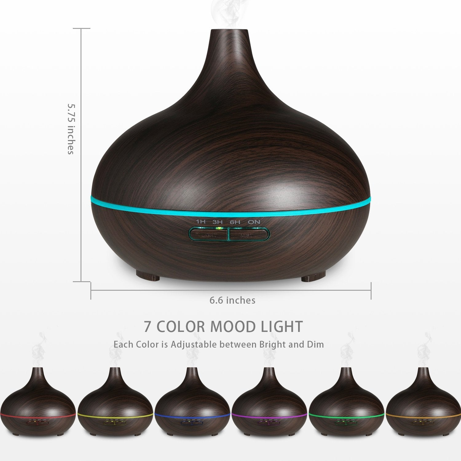 300ml Wood Grain Ultrasonic Aromatherapy Essential Oil Diffuser Quiet Humidifier With LED Light