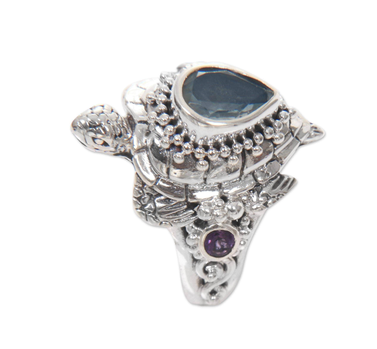 NOVICA Handmade Women Jewelry Sterling Silver 'Sea Turtle Enchantment' Multi-gemstone Cocktail Ring