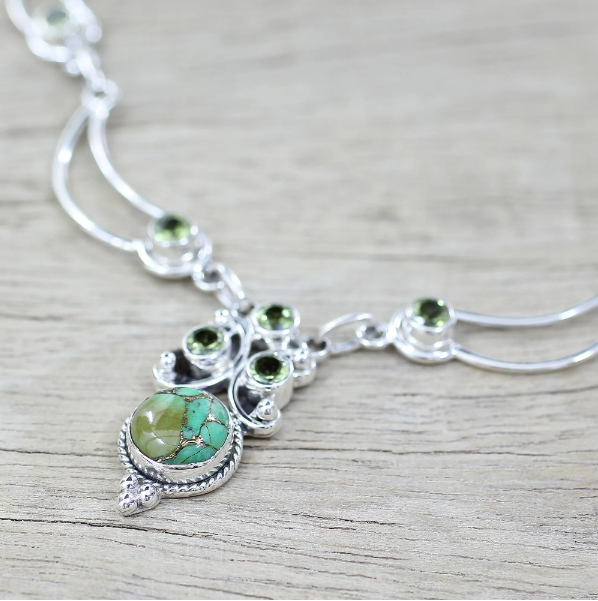 NOVICA Women Jewelry Handmade Sterling Silver 'Radiant Princess in Green' Peridot Turquoise Necklace