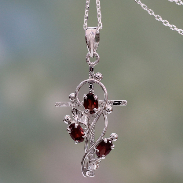 NOVICA Handmade Sterling Silver 'Sacred Trinity' Garnet Cross With Leafy Vines Pendant Necklace 18""