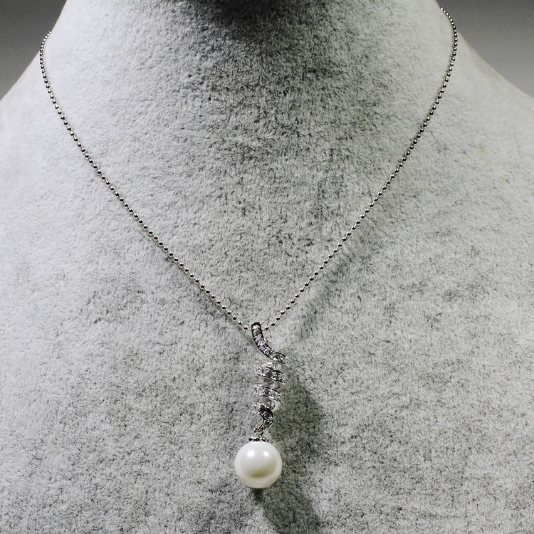 ID: P0444 Women 18K White Gold GF Pearl and Clear Stones Pendant Fashion Anniversary Jewelry