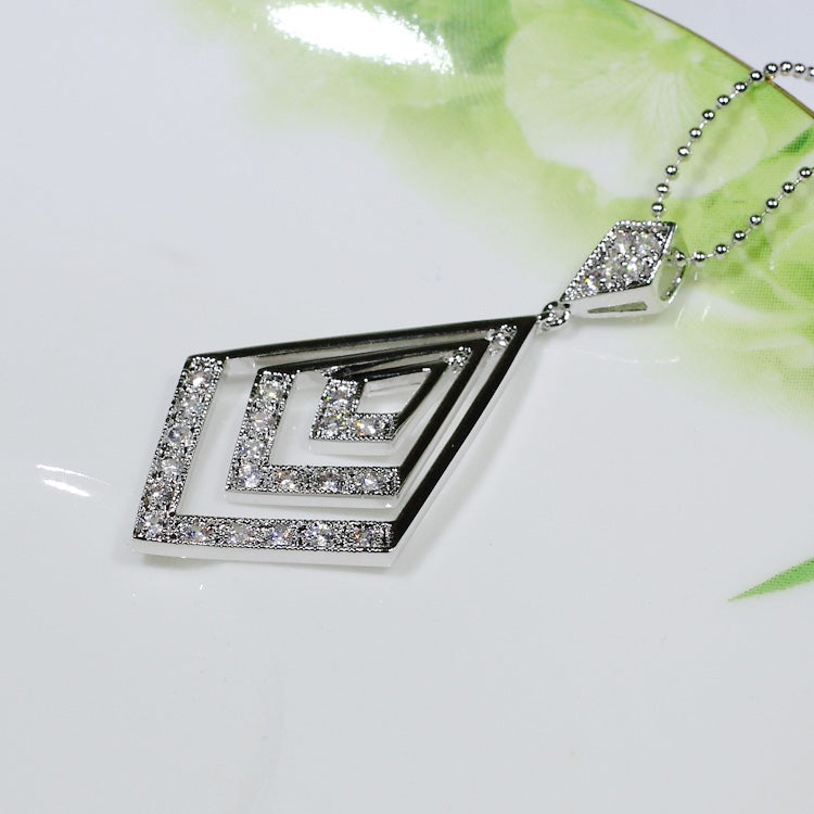 ID: P1140 Women 18K White Gold GF Shining Clear Stones Pendant Fashion Party Jewelry