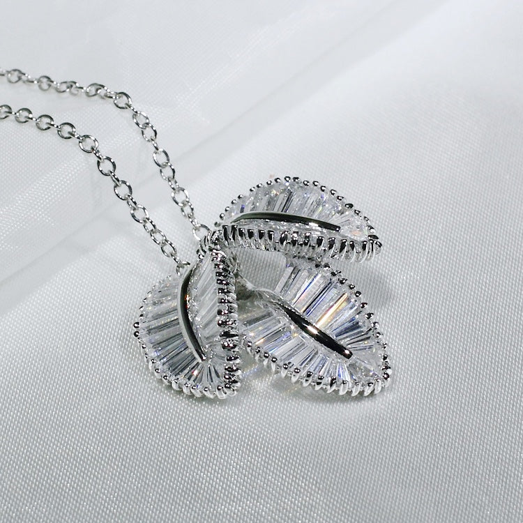 ID: P1286 Women 18K White Gold GF Shining Clear Baguette Stones Unique Design Three Leaves Pendant Fashion Engagement Jewelry