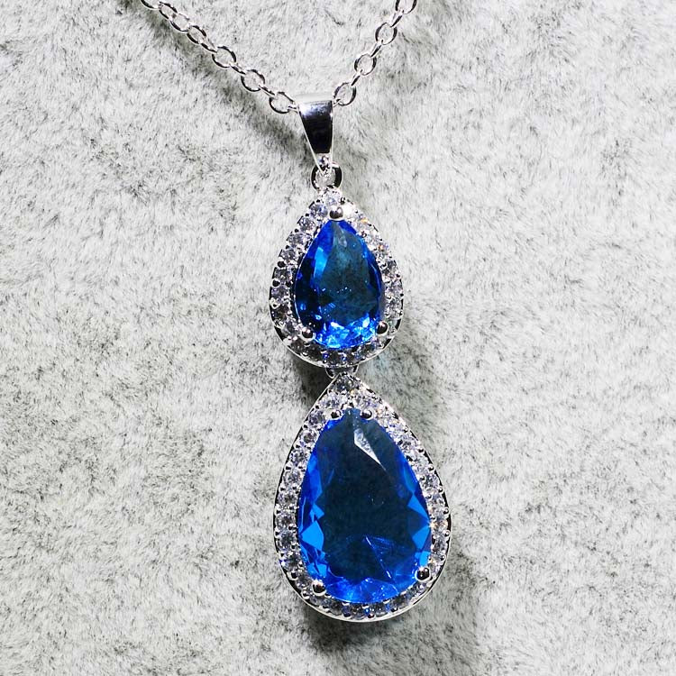 ID: P1384 Women 18K White Gold GF Sapphire and Clear Stones Dangle Pendant Fashion Anniversary Party Jewelry