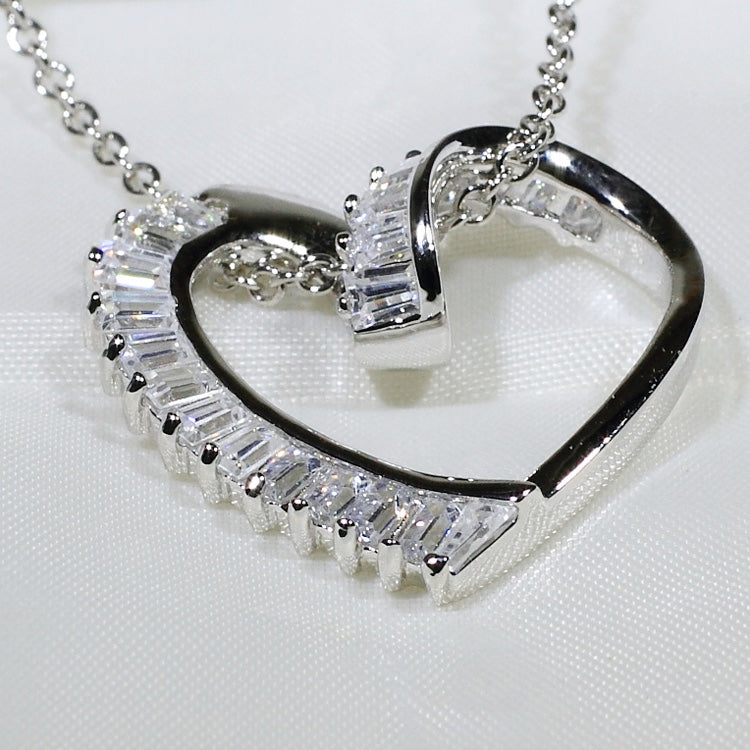 ID: P1902 Women 18K White Gold GF Shining Clear Stones Love Heart Pendant Fashion Engagement Wedding Party Jewelry