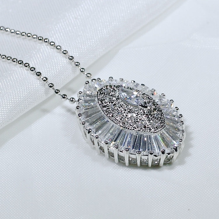 ID: P2000 Women 18K White Gold GF Shining Clear Stones Pendant Fashion Anniversary Wedding Party Jewelry