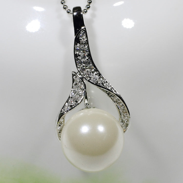 ID: P2131 Women 18K White Gold GF Pearl and Clear Stones Pendant Fashion Anniversary Wedding Party Jewelry