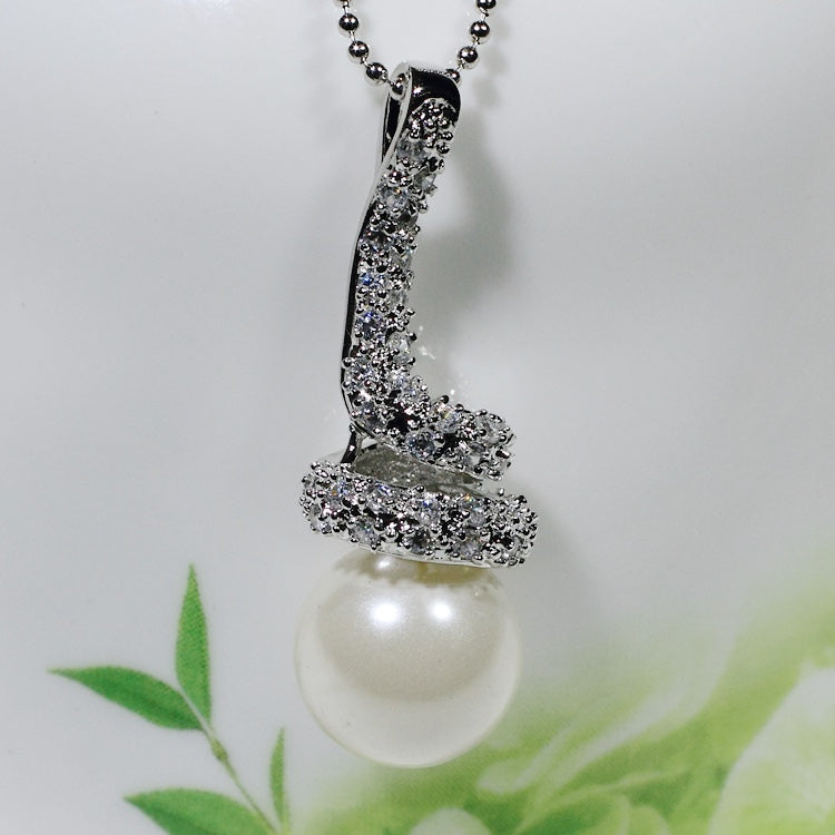 ID: P2149 Women 18K White Gold GF Pearl and Clear Stones Pendant Fashion Anniversary Wedding Party Jewelry