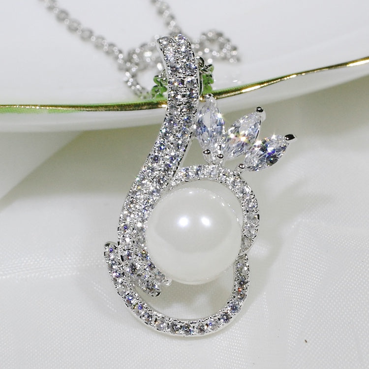 ID: P2548 Women 18K White Gold GF Pearl and Clear Stones Dangle Pendant Fashion Wedding Party Luxury Jewelry