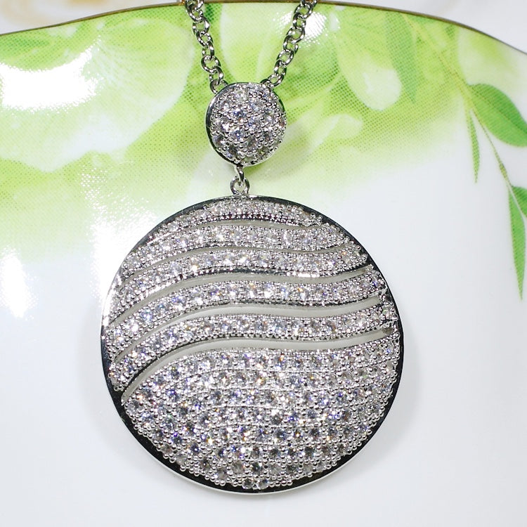 ID: P2660 Women 18K White Gold GF Shining Clear Stones Eternity Pendant Fashion Lady Wedding Party Jewelry