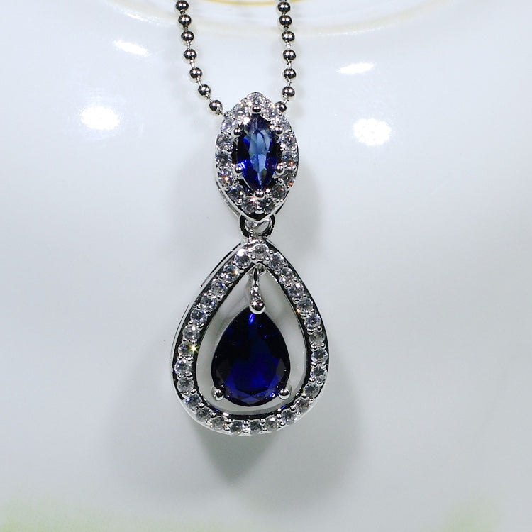 ID: P3069-1 Women 18K White Gold GF Sapphire and Clear Stones Dangle Pendant Fashion Lady Anniversary Party Jewelry Great Gift