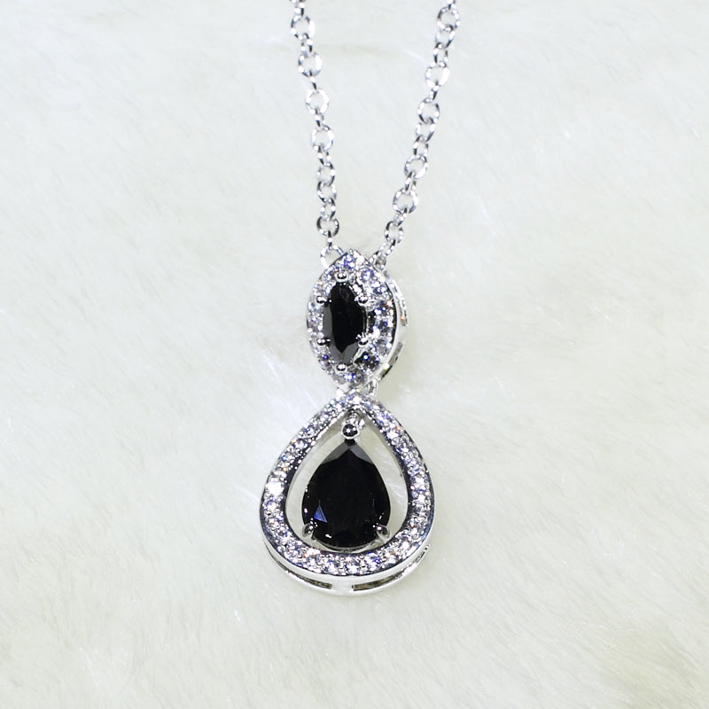 ID: P3069 Women 18K White Gold GF Black and Clear Stones Dangle Pendant Fashion Lady Anniversary Party Jewelry Great Gift