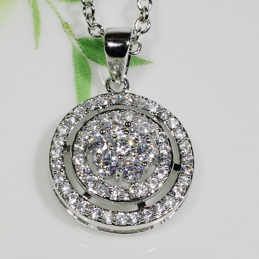 ID: P3074 Women 18K White Gold GF Clear Stones Pendant Fashion Lady Engagement Party Jewelry Great Gift