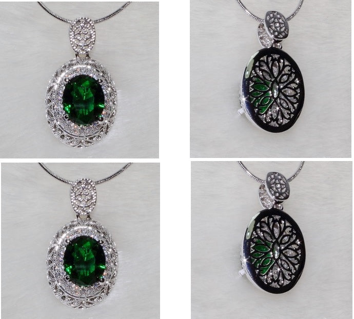 ID: P3082 Women 18K White Gold GF Big Emerald and Clear Stones Dangle Necklace Pendant Fashion Party Gift Jewelry