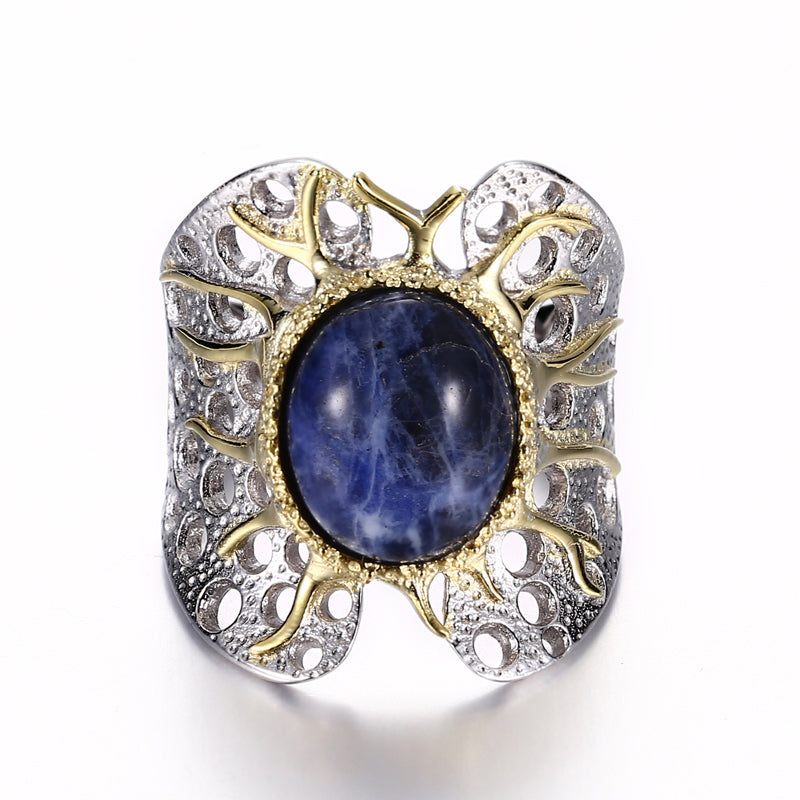 18K White Yellow Gold Filled on Solid S925 Sterling Silver High-Performance hand-crafted Vintage Lan Ven Stone Ring