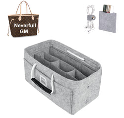 LV NEVERFULL GM Organizer GIFTS INCLUDED : Cable Holders+Lipstick Holders / Mini Wallet[Cement Gray]