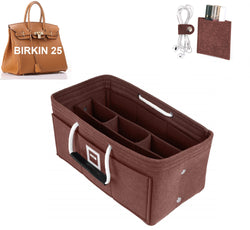 Hermès Birkin 25 Organizer GIFTS INCLUDED : Cable Holders+Lipstick Holders / Mini Wallet[Chocolat Brown]