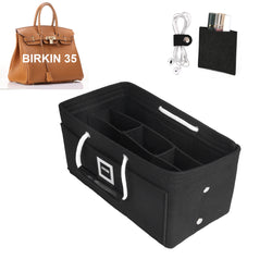 Hermès Birkin 35 Organizer GIFTS INCLUDED : Cable Holders+Lipstick Holders / Mini Wallet[Charcoal Black]