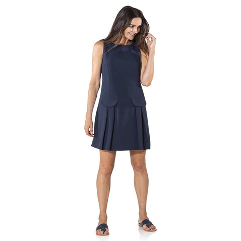 Sail to Sable Poly Crepe Sleeveless Shift With Pockets Navy