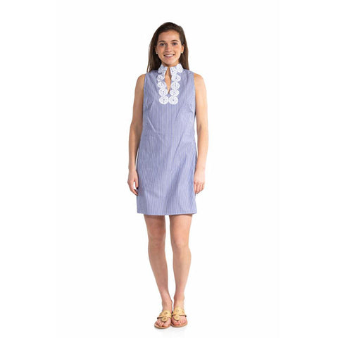 Sail to Sable Stripe Shirting Sleeveless Classic Tunic Dress Blue White Stripe